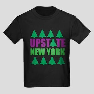 UPSTATE NEW YORK - PINE TREES Kids Dark T-Shirt