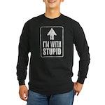Vintage I'm With Stupid [u] Long Sleeve Dark T-Shi