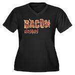 Bacon Slapped Women's Plus Size V-Neck Dark T-Shir