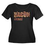 Bacon Slapped Women's Plus Size Scoop Neck Dark T-