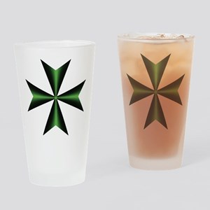 Green Maltese Cross Drinking Glass