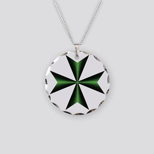 Green Maltese Cross Necklace Circle Charm