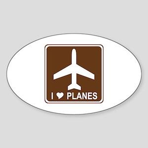 I Love Planes Sticker (Oval)
