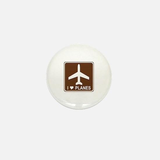 I Love Planes Mini Button