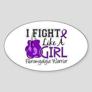 Licensed Fight Like a Girl 15.2 Fib Sticker (Oval)