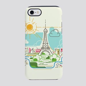 Abstract Paris City Skyline Tr iPhone 7 Tough Case