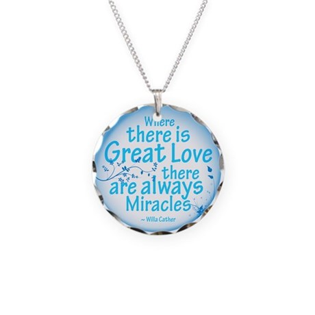 Great Love Necklace Circle Charm