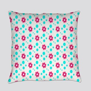 Pink Blue Floral Polka Dot Everyday Pillow
