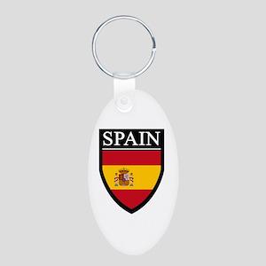Spain Flag Patch Aluminum Oval Keychain