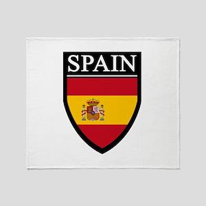 Spain Flag Patch Throw Blanket