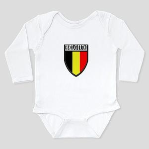 Belgium Flag Patch Long Sleeve Infant Bodysuit