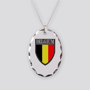 Belgium Flag Patch Necklace Oval Charm
