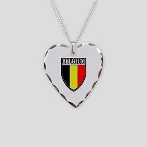 Belgium Flag Patch Necklace Heart Charm