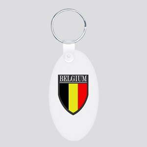 Belgium Flag Patch Aluminum Oval Keychain