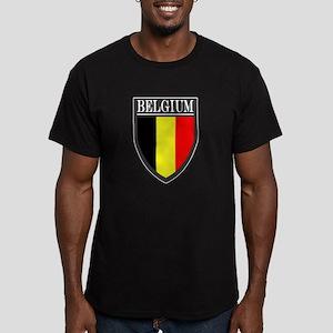 Belgium Flag Patch Men's Fitted T-Shirt (dark)