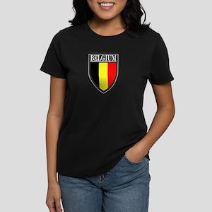 Belgium Flag Patch Women's Dark T-Shirt