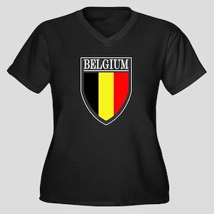 Belgium Flag Patch Women's Plus Size V-Neck Dark T