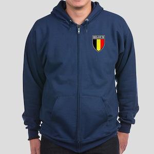 Belgium Flag Patch Zip Hoodie (dark)