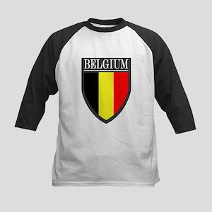 Belgium Flag Patch Kids Baseball Jersey