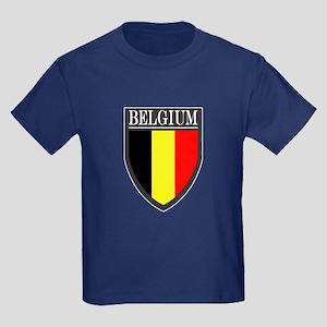 Belgium Flag Patch Kids Dark T-Shirt
