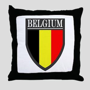 Belgium Flag Patch Throw Pillow