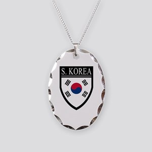 South Korea Flag Patch Necklace Oval Charm