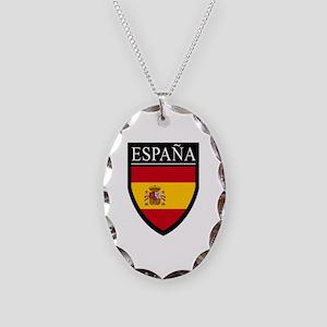 Spain (Espana) Flag Patch Necklace Oval Charm