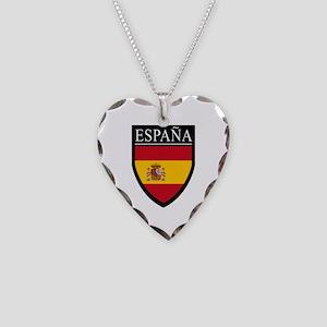 Spain (Espana) Flag Patch Necklace Heart Charm