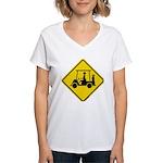 Caution Golf Cart Crossing Women's V-Neck T-Shirt