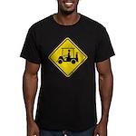 Caution Golf Cart Crossing Men's Fitted T-Shirt (d