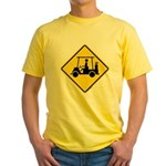 Caution Golf Cart Crossing Yellow T-Shirt