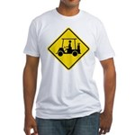 Caution Golf Cart Crossing Fitted T-Shirt