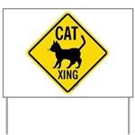 Caution Cat Crossing Yard Sign