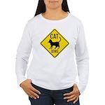 Caution Cat Crossing Women's Long Sleeve T-Shirt