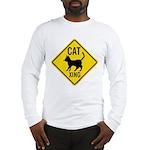 Caution Cat Crossing Long Sleeve T-Shirt