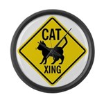 Caution Cat Crossing Large Wall Clock