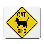 Caution Cat Crossing Mousepad