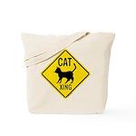 Caution Cat Crossing Tote Bag