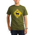 Caution Cat Crossing Organic Men's T-Shirt (dark)
