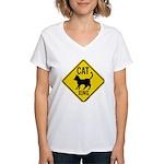 Caution Cat Crossing Women's V-Neck T-Shirt