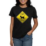 Caution Cat Crossing Women's Dark T-Shirt