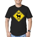 Caution Cat Crossing Men's Fitted T-Shirt (dark)
