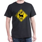 Caution Cat Crossing Dark T-Shirt