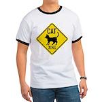 Caution Cat Crossing Ringer T