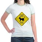Caution Cat Crossing Jr. Ringer T-Shirt