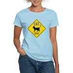Caution Cat Crossing Women's Light T-Shirt