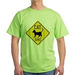 Caution Cat Crossing Green T-Shirt