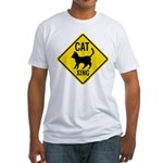 Caution Cat Crossing Fitted T-Shirt