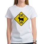 Caution Cat Crossing Women's T-Shirt