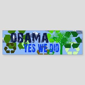 Obama Green Yes We Did Bumper Sticker